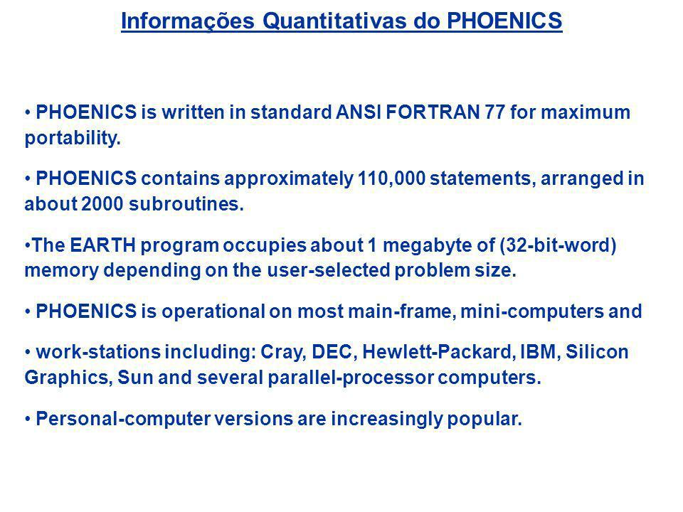 Informações Quantitativas do PHOENICS PHOENICS is written in standard ANSI FORTRAN 77 for maximum portability. PHOENICS contains approximately 110,000