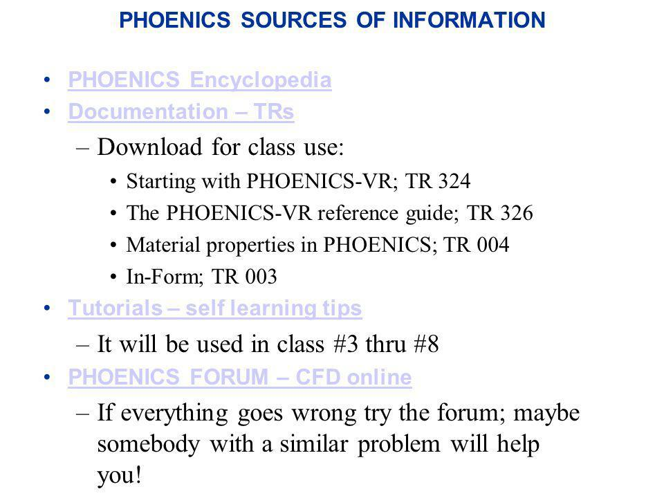 PHOENICS SOURCES OF INFORMATION PHOENICS Encyclopedia Documentation – TRs –Download for class use: Starting with PHOENICS-VR; TR 324 The PHOENICS-VR r