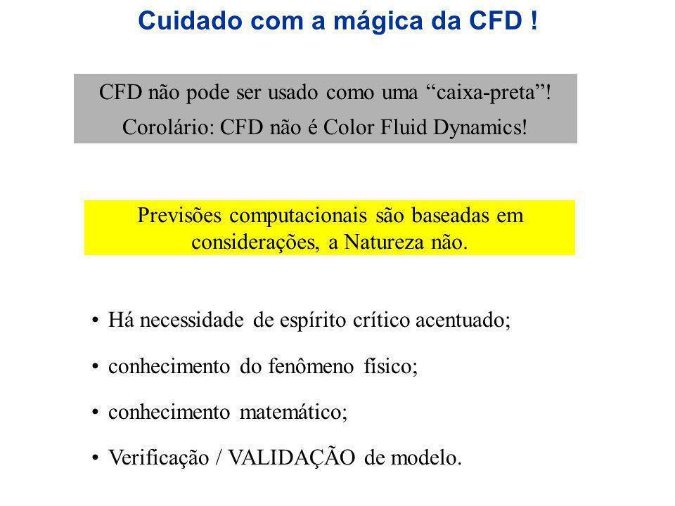 Cuidado com a mágica da CFD ! CFD não pode ser usado como uma caixa-preta! Corolário: CFD não é Color Fluid Dynamics! Há necessidade de espírito críti