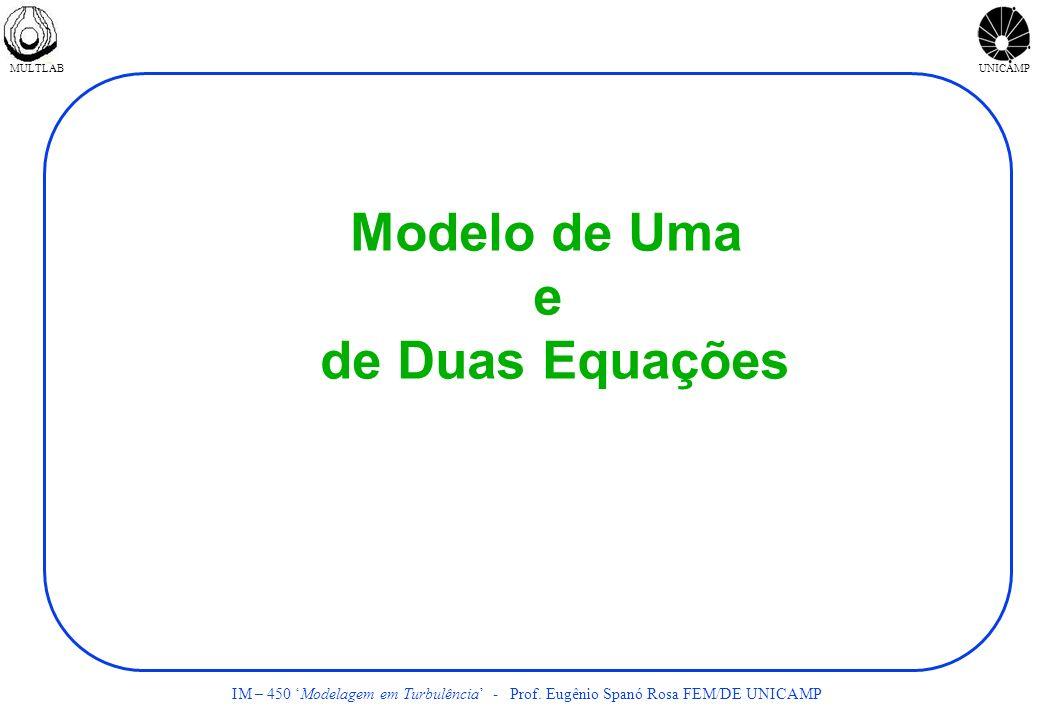 MULTLABUNICAMP IM – 450 Modelagem em Turbulência - Prof. Eugênio Spanó Rosa FEM/DE UNICAMP Modelo de Uma e de Duas Equações