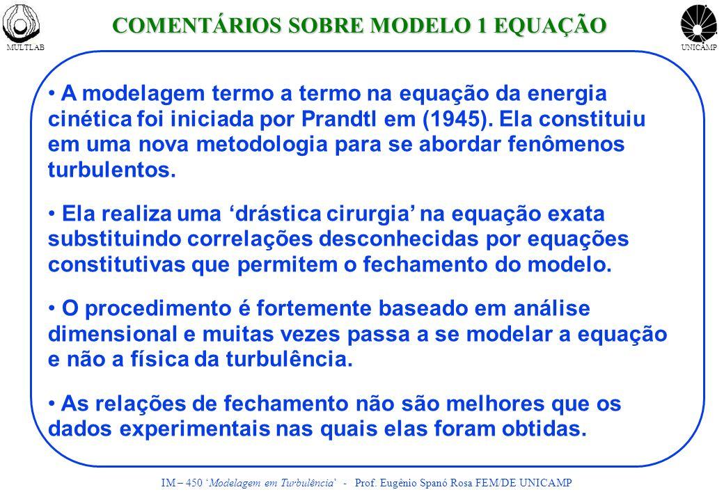 MULTLABUNICAMP IM – 450 Modelagem em Turbulência - Prof. Eugênio Spanó Rosa FEM/DE UNICAMP A modelagem termo a termo na equação da energia cinética fo