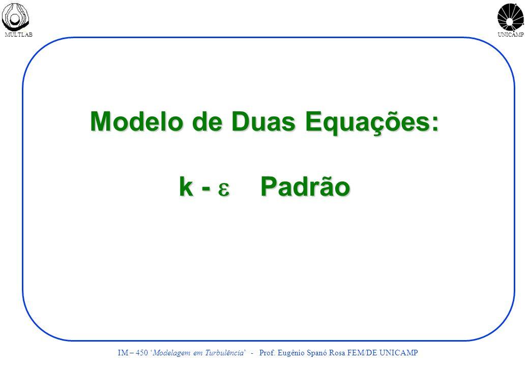 MULTLABUNICAMP IM – 450 Modelagem em Turbulência - Prof. Eugênio Spanó Rosa FEM/DE UNICAMP Modelo de Duas Equações: k - Padrão