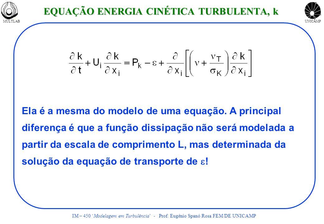 MULTLABUNICAMP IM – 450 Modelagem em Turbulência - Prof. Eugênio Spanó Rosa FEM/DE UNICAMP Ela é a mesma do modelo de uma equação. A principal diferen