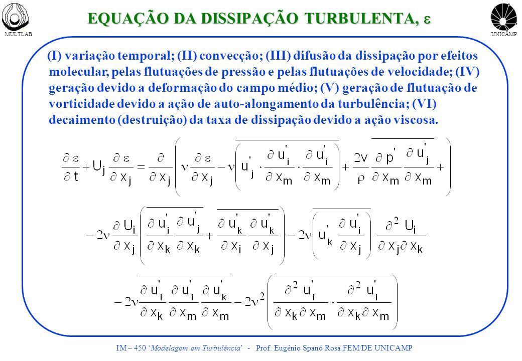 MULTLABUNICAMP IM – 450 Modelagem em Turbulência - Prof. Eugênio Spanó Rosa FEM/DE UNICAMP (I) variação temporal; (II) convecção; (III) difusão da dis