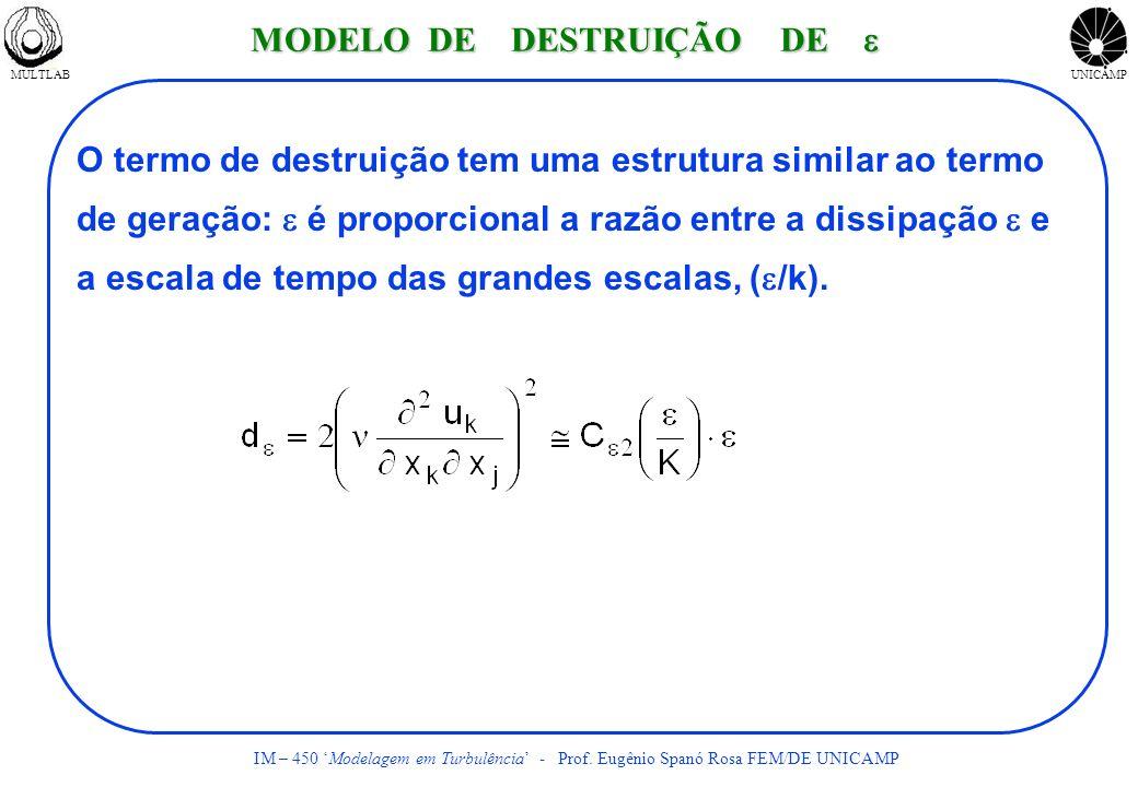 MULTLABUNICAMP IM – 450 Modelagem em Turbulência - Prof. Eugênio Spanó Rosa FEM/DE UNICAMP O termo de destruição tem uma estrutura similar ao termo de