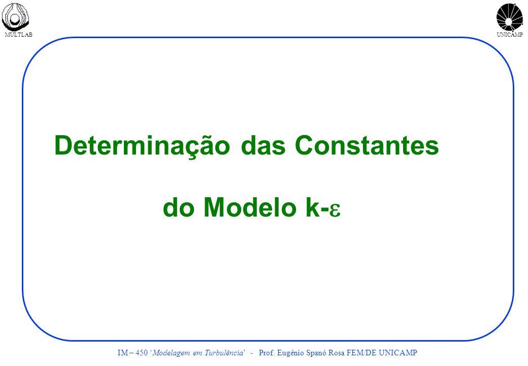 MULTLABUNICAMP IM – 450 Modelagem em Turbulência - Prof. Eugênio Spanó Rosa FEM/DE UNICAMP Determinação das Constantes do Modelo k-