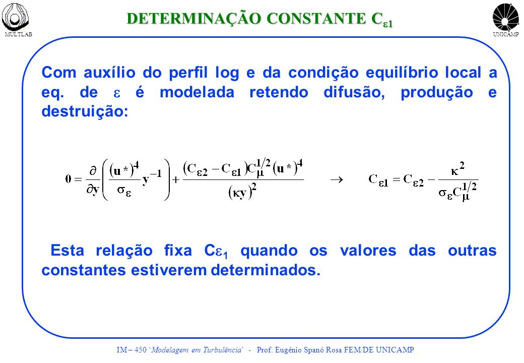 MULTLABUNICAMP IM – 450 Modelagem em Turbulência - Prof. Eugênio Spanó Rosa FEM/DE UNICAMP Com auxílio do perfil log e da condição equilíbrio local a