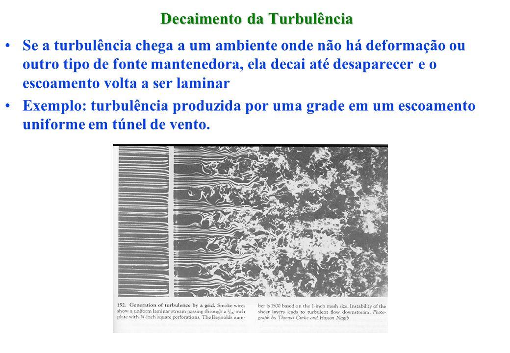 Decaimento da Turbulência Se a turbulência chega a um ambiente onde não há deformação ou outro tipo de fonte mantenedora, ela decai até desaparecer e