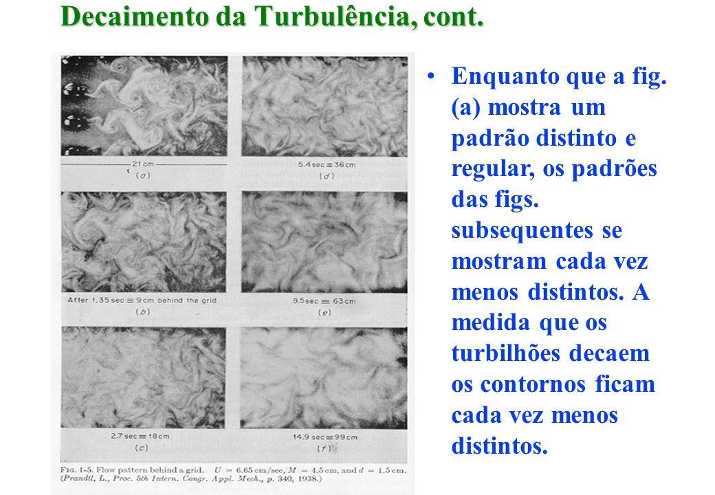 Decaimento da Turbulência, cont. Enquanto que a fig. (a) mostra um padrão distinto e regular, os padrões das figs. subsequentes se mostram cada vez me