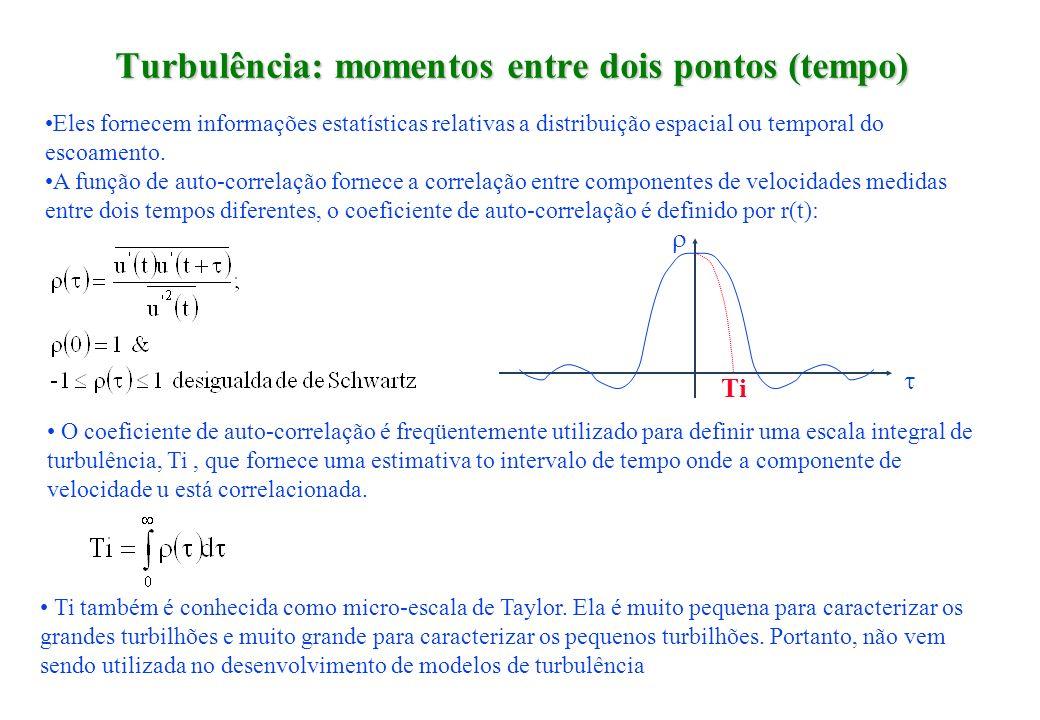 Turbulência: momentos entre dois pontos (tempo) Eles fornecem informações estatísticas relativas a distribuição espacial ou temporal do escoamento. A