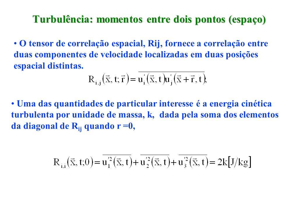 Turbulência: momentos entre dois pontos (espaço) O tensor de correlação espacial, Rij, fornece a correlação entre duas componentes de velocidade local