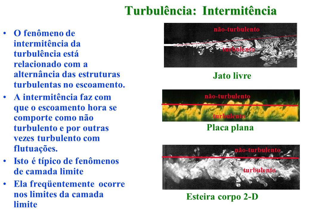 Turbulência: Intermitência O fenômeno de intermitência da turbulência está relacionado com a alternância das estruturas turbulentas no escoamento. A i