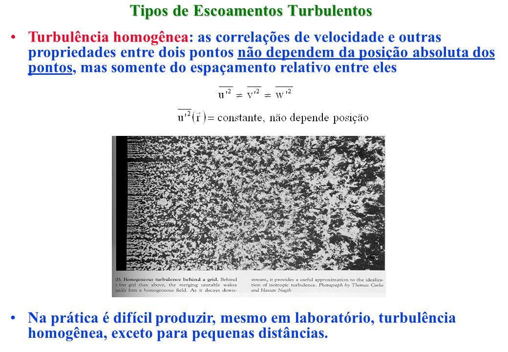Tipos de Escoamentos Turbulentos Turbulência homogênea: as correlações de velocidade e outras propriedades entre dois pontos não dependem da posição a