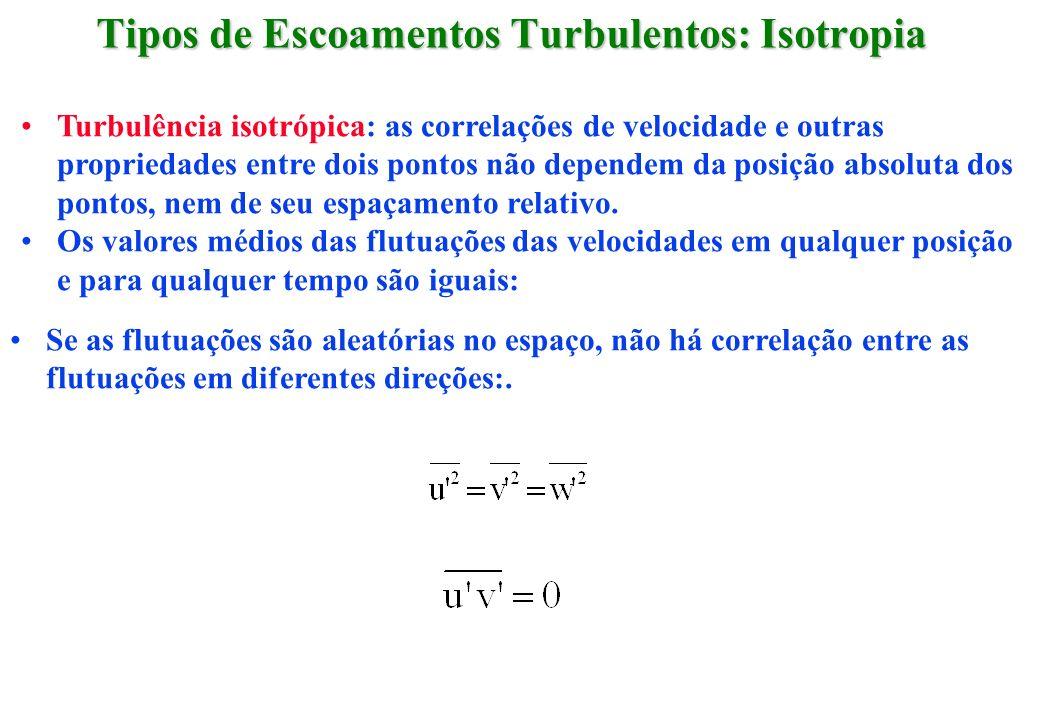 Turbulência isotrópica: as correlações de velocidade e outras propriedades entre dois pontos não dependem da posição absoluta dos pontos, nem de seu e