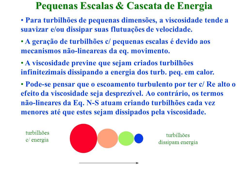 Pequenas Escalas & Cascata de Energia Para turbilhões de pequenas dimensões, a viscosidade tende a suavizar e/ou dissipar suas flutuações de velocidad