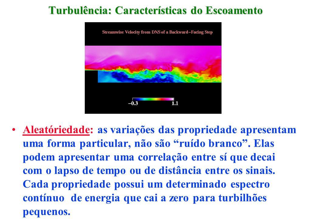 Turbulência: Características do Escoamento Aleatóriedade: as variações das propriedade apresentam uma forma particular, não são ruído branco. Elas pod