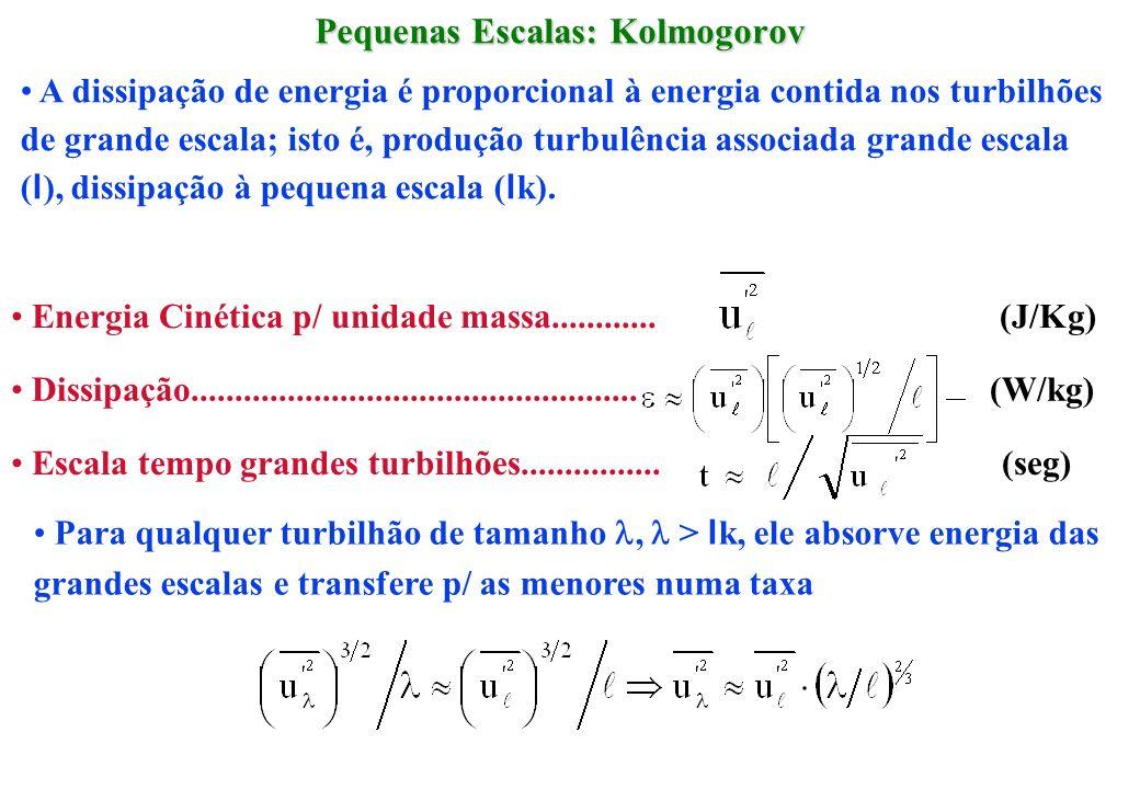 Pequenas Escalas: Kolmogorov A dissipação de energia é proporcional à energia contida nos turbilhões de grande escala; isto é, produção turbulência as