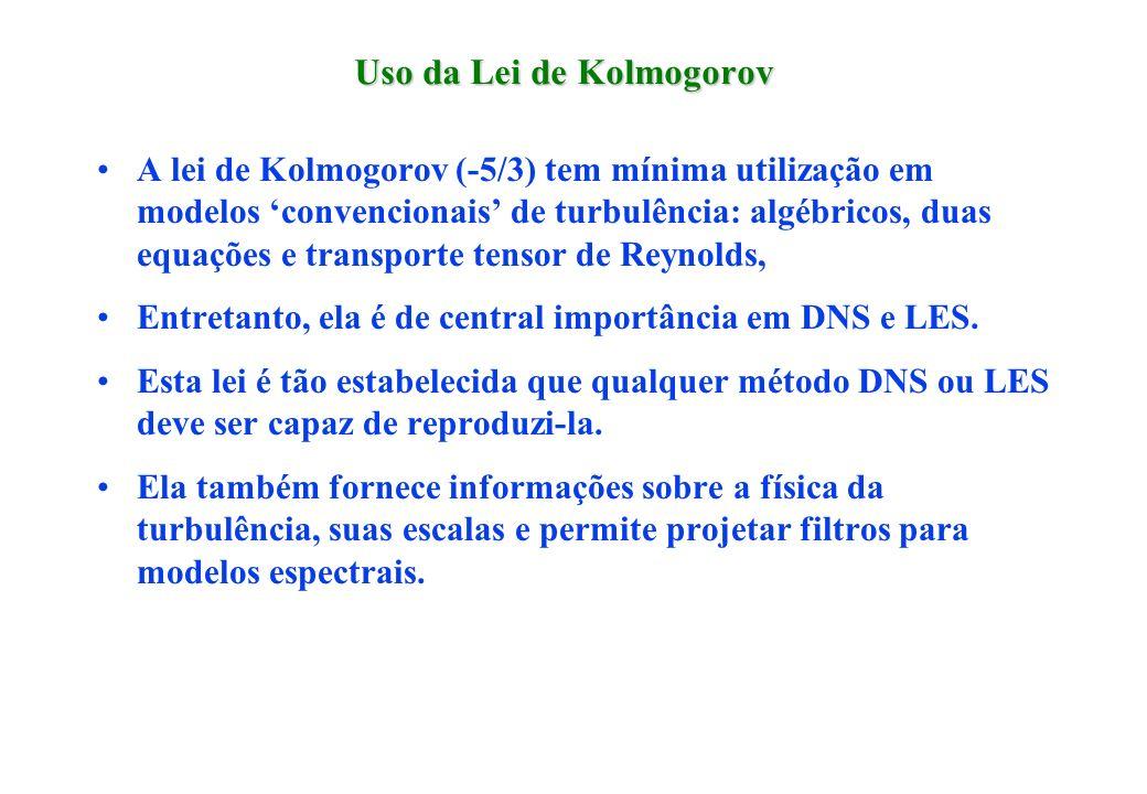 Uso da Lei de Kolmogorov A lei de Kolmogorov (-5/3) tem mínima utilização em modelos convencionais de turbulência: algébricos, duas equações e transpo