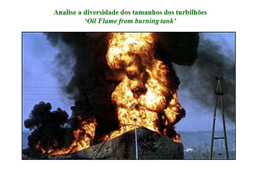 Analise a diversidade dos tamanhos dos turbilhões Oil Flame from burning tank