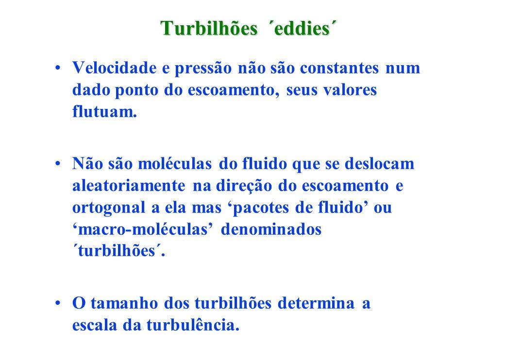 Turbilhões ´eddies´ Velocidade e pressão não são constantes num dado ponto do escoamento, seus valores flutuam. Não são moléculas do fluido que se des