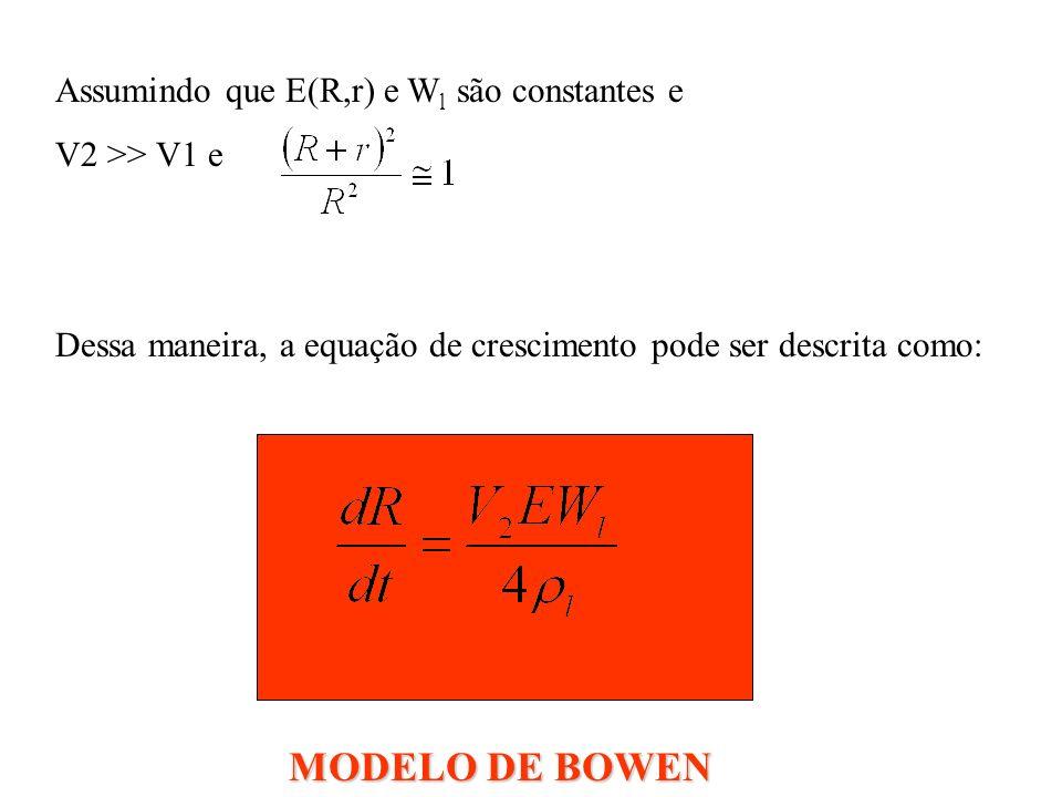 Assumindo que E(R,r) e W l são constantes e V2 >> V1 e Dessa maneira, a equação de crescimento pode ser descrita como: MODELO DE BOWEN