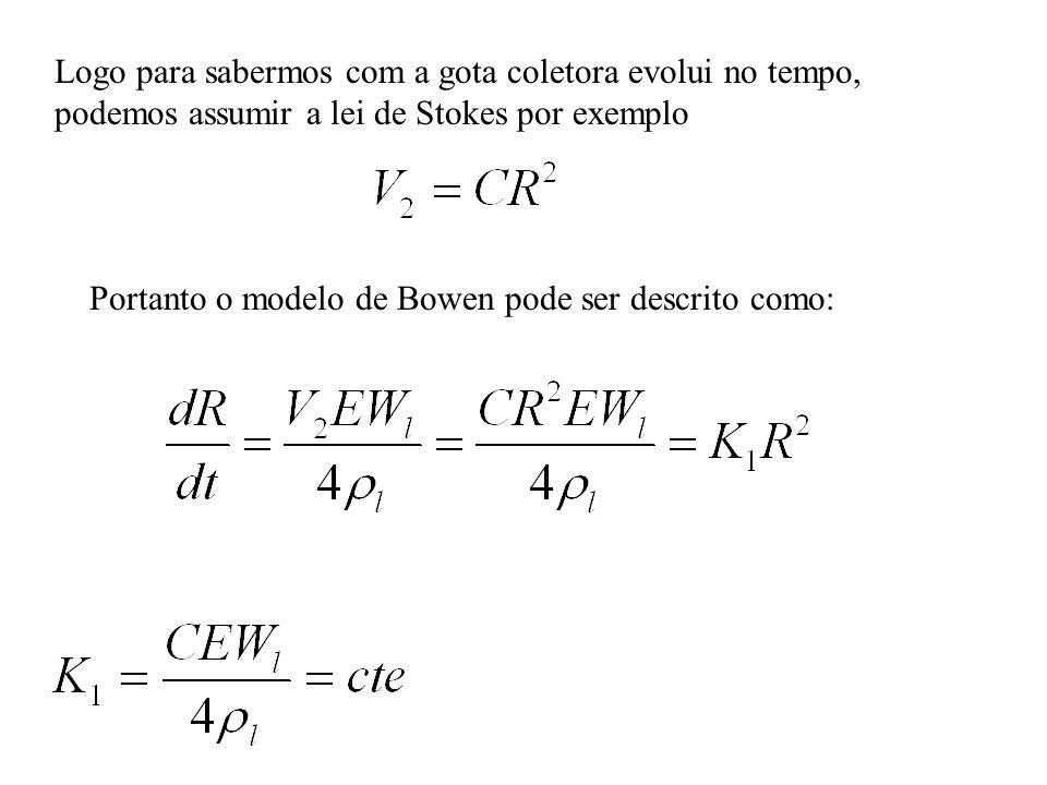 Logo para sabermos com a gota coletora evolui no tempo, podemos assumir a lei de Stokes por exemplo Portanto o modelo de Bowen pode ser descrito como: