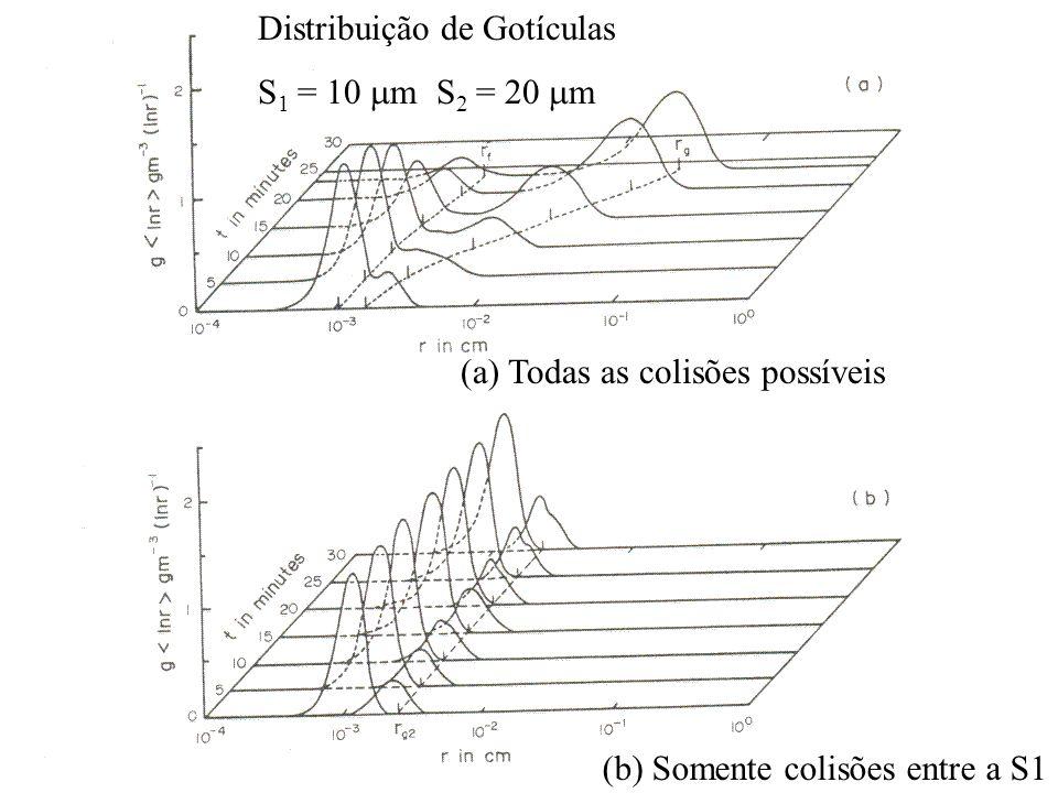 Distribuição de Gotículas S 1 = 10 m S 2 = 20 m (a) Todas as colisões possíveis (b) Somente colisões entre a S1