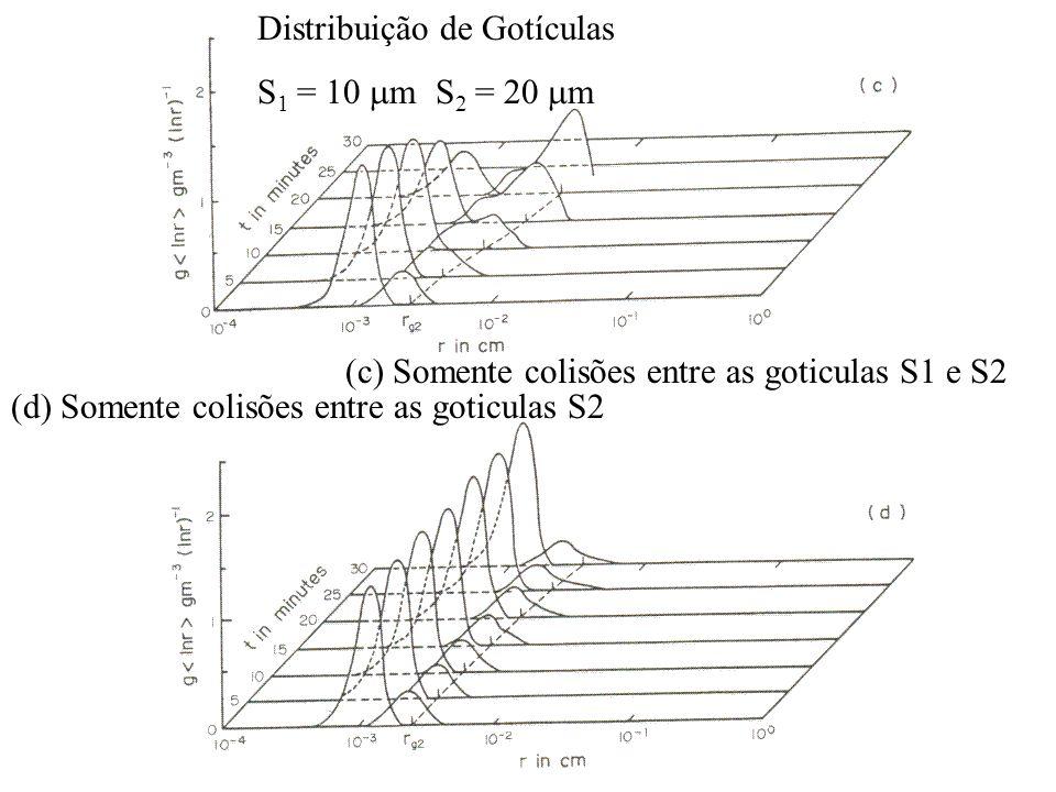 Distribuição de Gotículas S 1 = 10 m S 2 = 20 m (c) Somente colisões entre as goticulas S1 e S2 (d) Somente colisões entre as goticulas S2