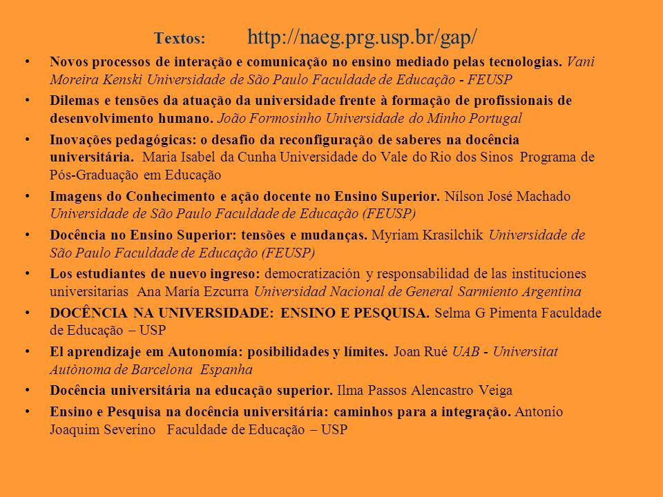 Textos: http://naeg.prg.usp.br/gap/ Novos processos de interação e comunicação no ensino mediado pelas tecnologias. Vani Moreira Kenski Universidade d