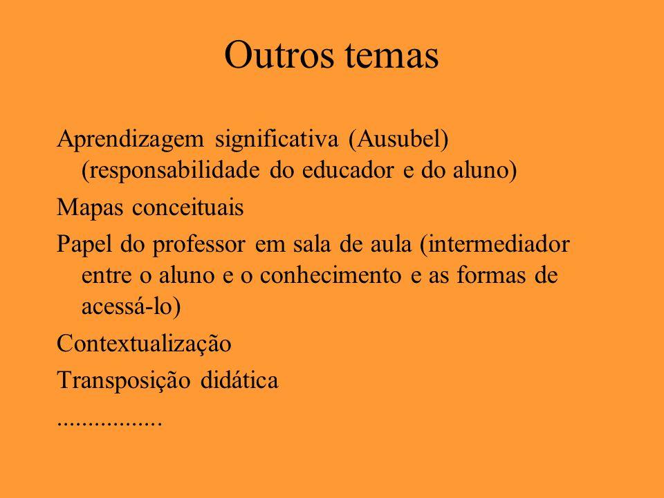 Outros temas Aprendizagem significativa (Ausubel) (responsabilidade do educador e do aluno) Mapas conceituais Papel do professor em sala de aula (inte