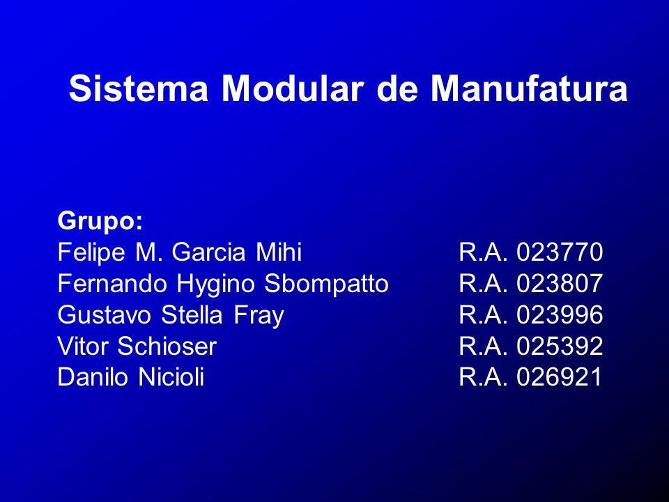 Sistema Modular de Manufatura Grupo: Felipe M. Garcia Mihi R.A. 023770 Fernando Hygino Sbompatto R.A. 023807 Gustavo Stella FrayR.A. 023996 Vitor Schi