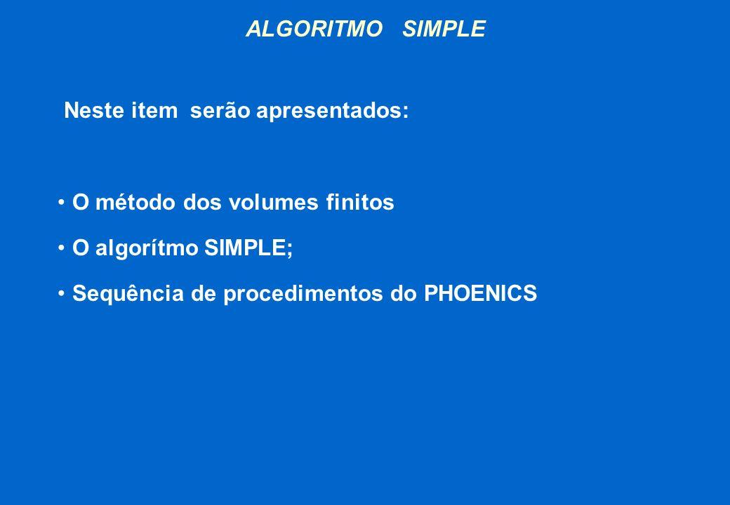 ALGORITMO SIMPLE Neste item serão apresentados: O método dos volumes finitos O algorítmo SIMPLE; Sequência de procedimentos do PHOENICS