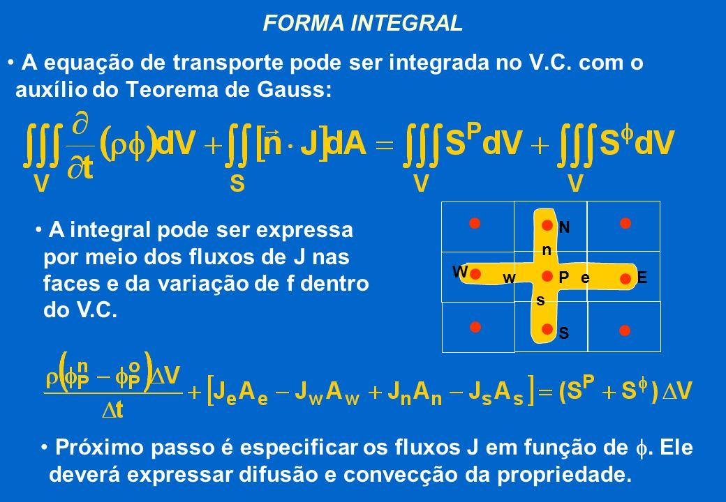 FORMA INTEGRAL A equação de transporte pode ser integrada no V.C. com o auxílio do Teorema de Gauss: A integral pode ser expressa por meio dos fluxos