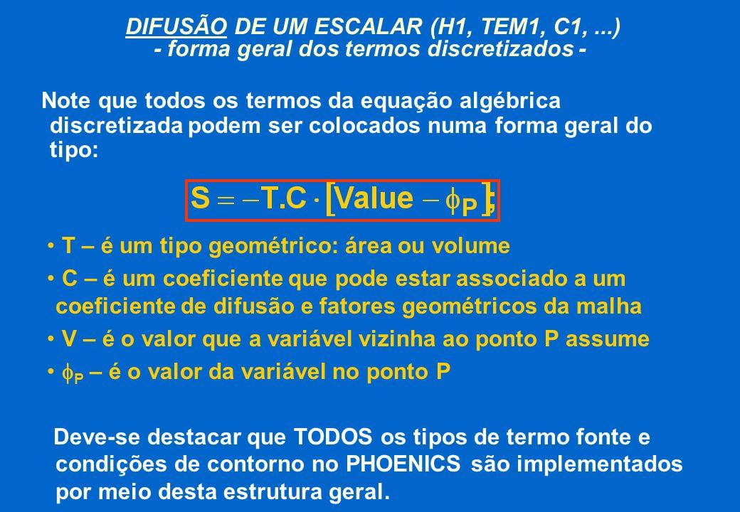DIFUSÃO DE UM ESCALAR (H1, TEM1, C1,...) - forma geral dos termos discretizados - Note que todos os termos da equação algébrica discretizada podem ser