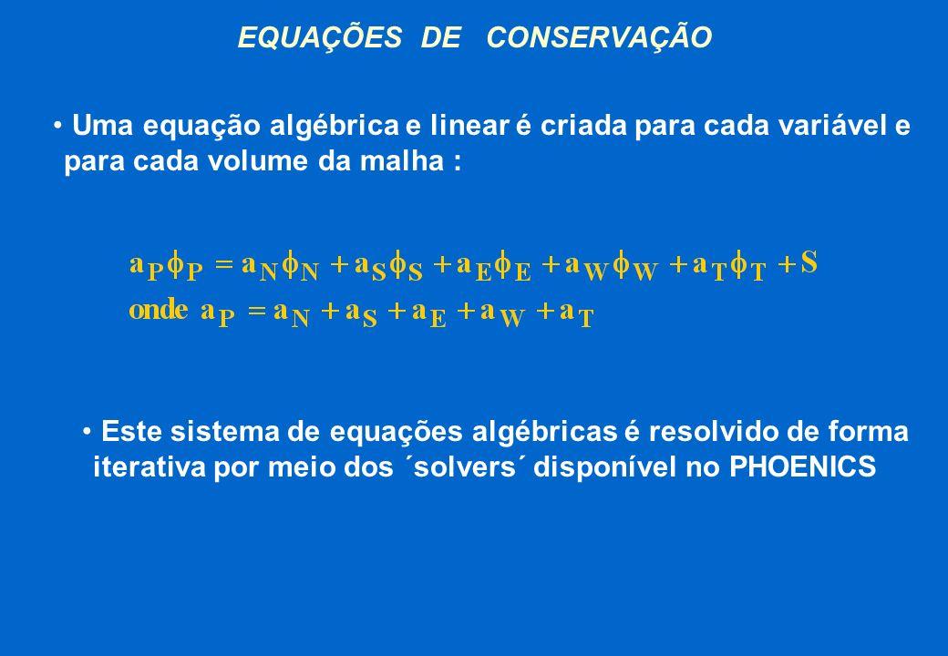 EQUAÇÕES DE CONSERVAÇÃO Uma equação algébrica e linear é criada para cada variável e para cada volume da malha : Este sistema de equações algébricas é