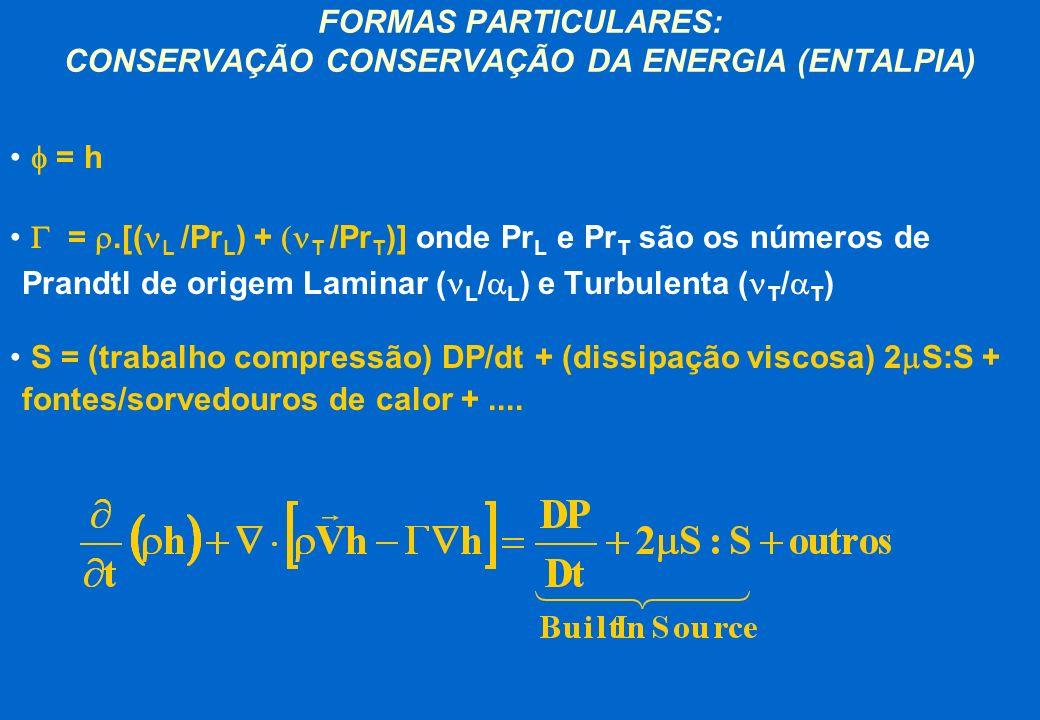 FORMAS PARTICULARES: CONSERVAÇÃO CONSERVAÇÃO DA ENERGIA (ENTALPIA) = h =.[( L /Pr L ) + T /Pr T )] onde Pr L e Pr T são os números de Prandtl de orige