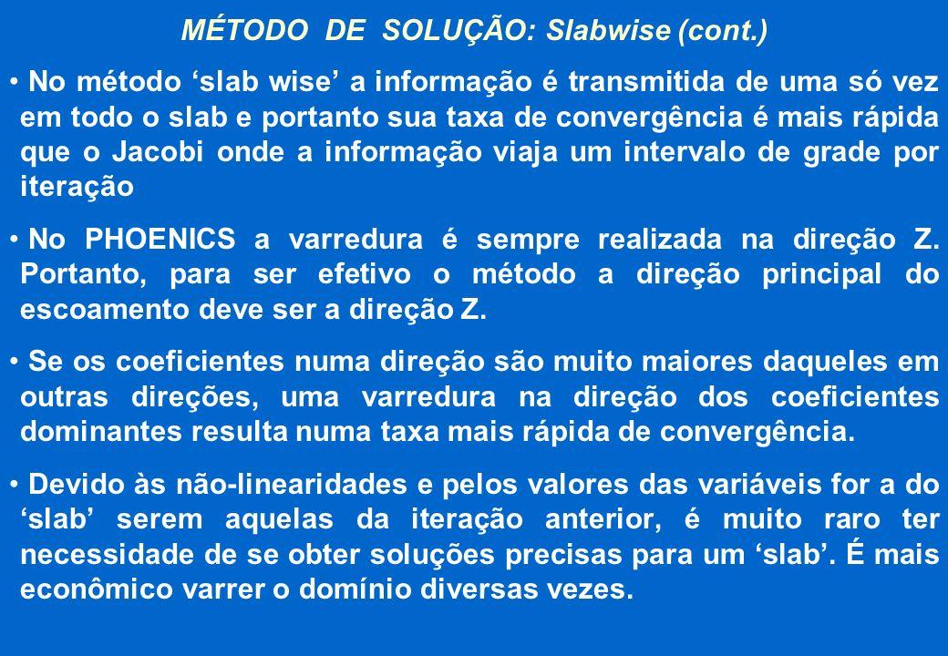 MÉTODO DE SOLUÇÃO: Slabwise (cont.) No método slab wise a informação é transmitida de uma só vez em todo o slab e portanto sua taxa de convergência é