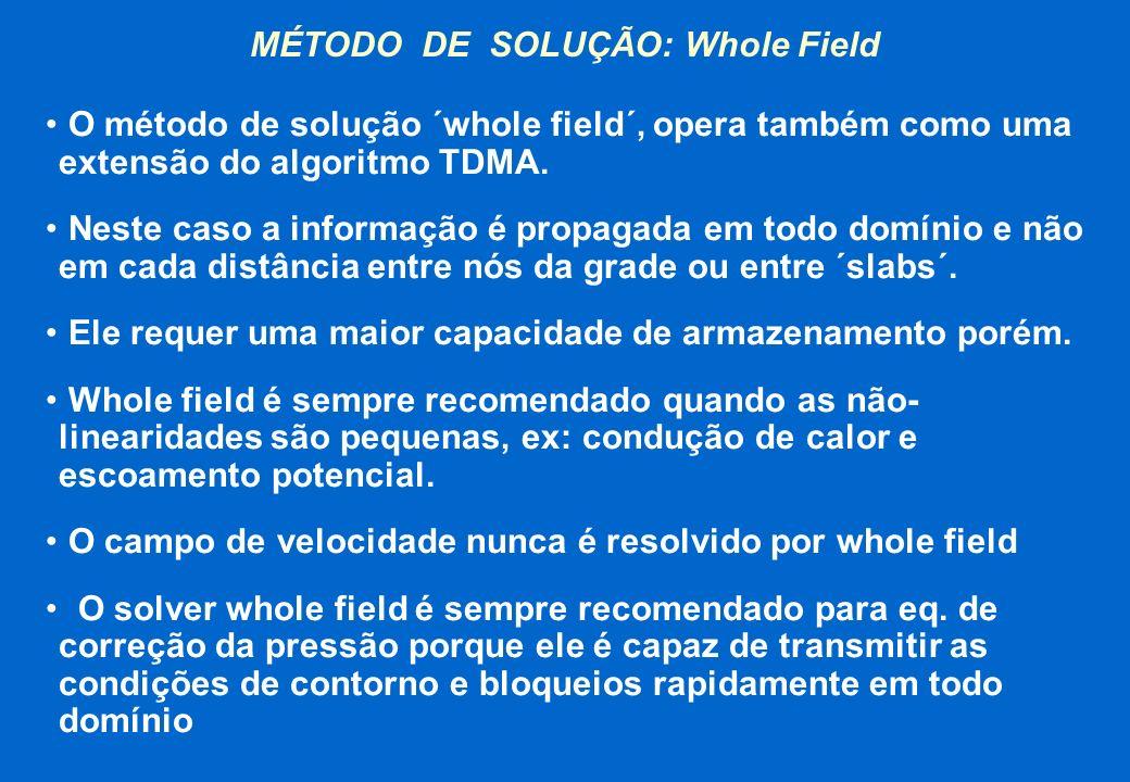 MÉTODO DE SOLUÇÃO: Whole Field O método de solução ´whole field´, opera também como uma extensão do algoritmo TDMA. Neste caso a informação é propagad