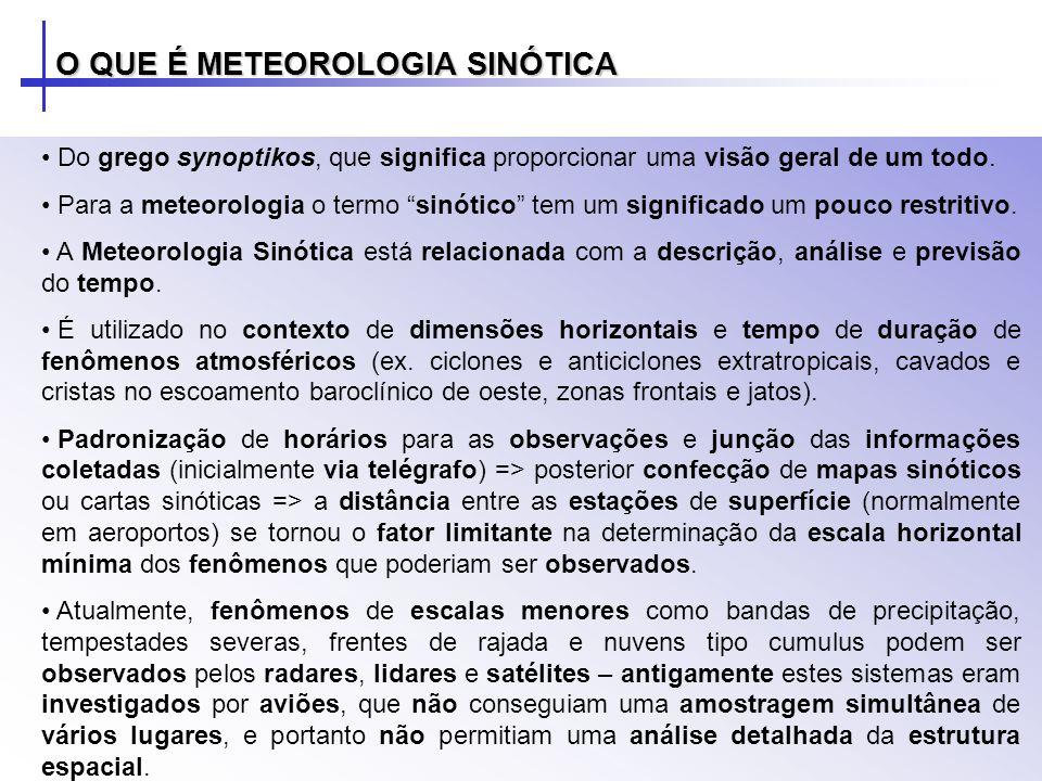 Do grego synoptikos, que significa proporcionar uma visão geral de um todo. Para a meteorologia o termo sinótico tem um significado um pouco restritiv