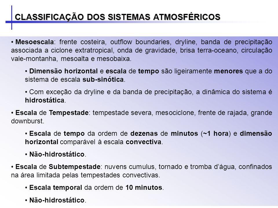 Microescala: subvórtices em tornados, trombas dágua e roda-moinhos Escala de tempo da ordem de minutos e dimensão horizontal menor do que a escala de subnuvem.