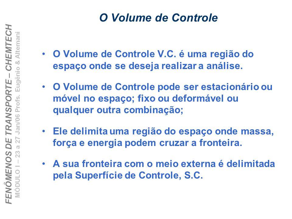 FENÔMENOS DE TRANSPORTE – CHEMTECH MÓDULO I – 23 a 27 Jan/06 Profs. Eugênio & Altemani O Volume de Controle O Volume de Controle V.C. é uma região do