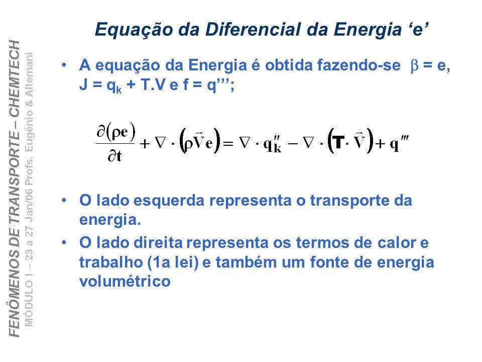 FENÔMENOS DE TRANSPORTE – CHEMTECH MÓDULO I – 23 a 27 Jan/06 Profs. Eugênio & Altemani Equação da Diferencial da Energia e A equação da Energia é obti