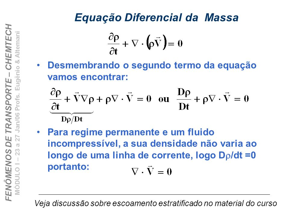 FENÔMENOS DE TRANSPORTE – CHEMTECH MÓDULO I – 23 a 27 Jan/06 Profs. Eugênio & Altemani Equação Diferencial da Massa Desmembrando o segundo termo da eq
