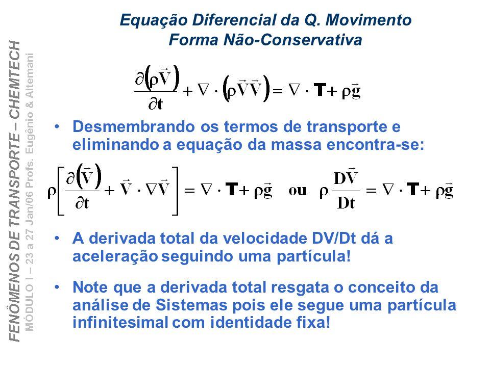 FENÔMENOS DE TRANSPORTE – CHEMTECH MÓDULO I – 23 a 27 Jan/06 Profs. Eugênio & Altemani Equação Diferencial da Q. Movimento Forma Não-Conservativa Desm
