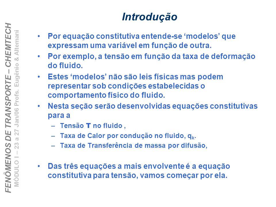 FENÔMENOS DE TRANSPORTE – CHEMTECH MÓDULO I – 23 a 27 Jan/06 Profs. Eugênio & Altemani Introdução Por equação constitutiva entende-se modelos que expr