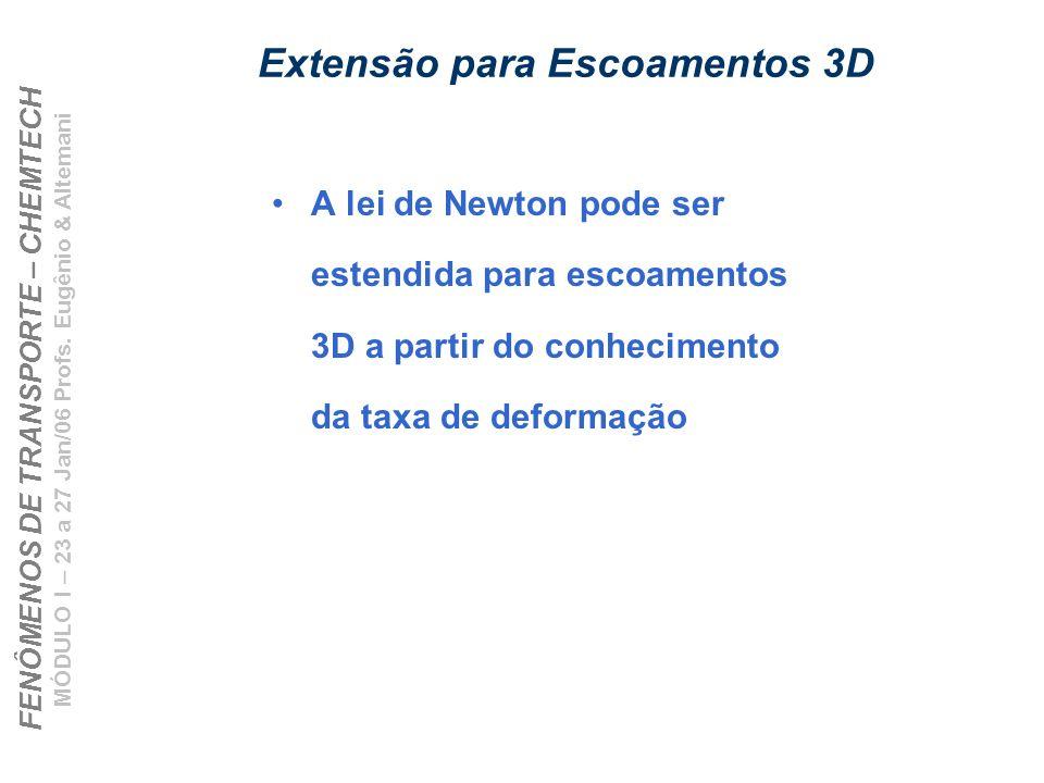 FENÔMENOS DE TRANSPORTE – CHEMTECH MÓDULO I – 23 a 27 Jan/06 Profs. Eugênio & Altemani Extensão para Escoamentos 3D A lei de Newton pode ser estendida