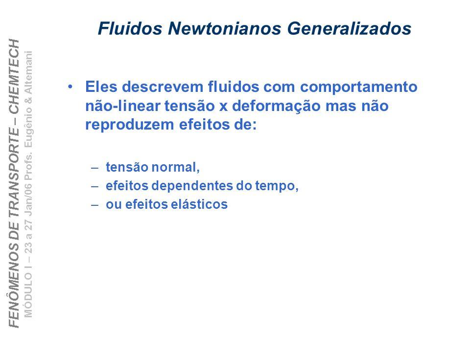 FENÔMENOS DE TRANSPORTE – CHEMTECH MÓDULO I – 23 a 27 Jan/06 Profs. Eugênio & Altemani Fluidos Newtonianos Generalizados Eles descrevem fluidos com co