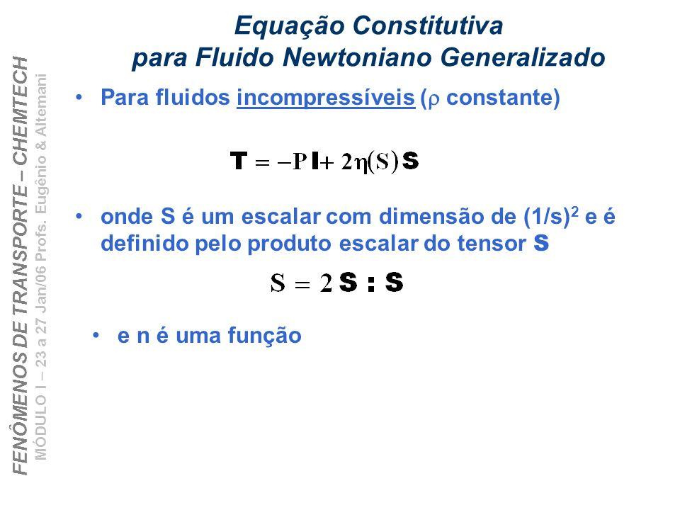 FENÔMENOS DE TRANSPORTE – CHEMTECH MÓDULO I – 23 a 27 Jan/06 Profs. Eugênio & Altemani Equação Constitutiva para Fluido Newtoniano Generalizado Para f