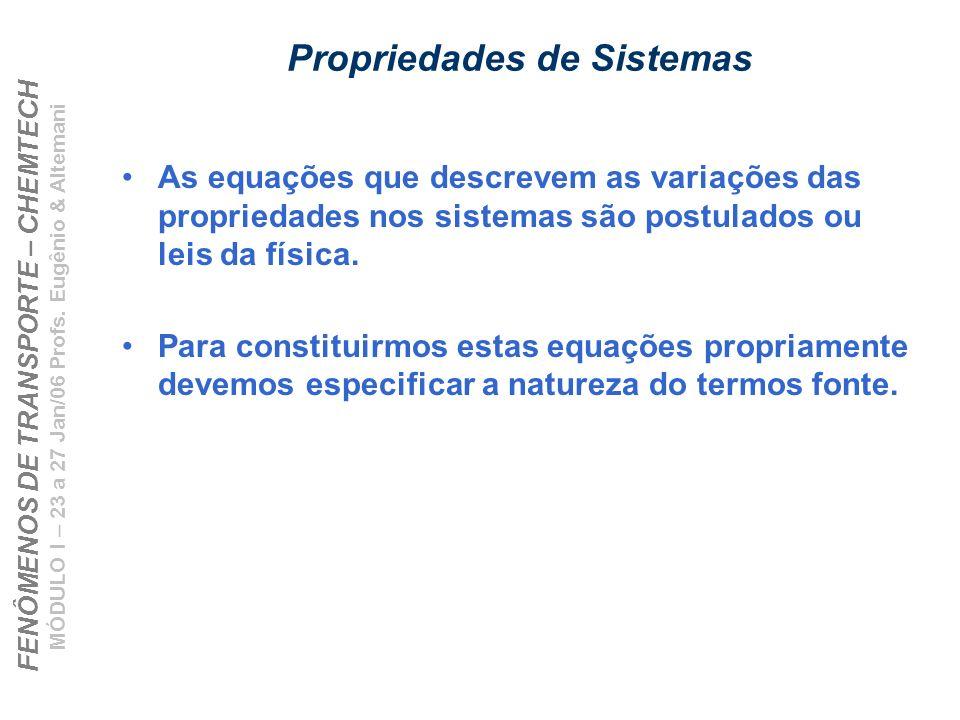 FENÔMENOS DE TRANSPORTE – CHEMTECH MÓDULO I – 23 a 27 Jan/06 Profs. Eugênio & Altemani Propriedades de Sistemas As equações que descrevem as variações