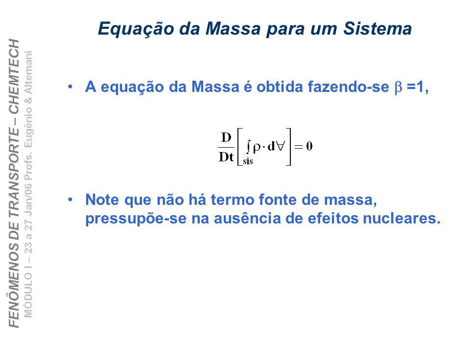 FENÔMENOS DE TRANSPORTE – CHEMTECH MÓDULO I – 23 a 27 Jan/06 Profs. Eugênio & Altemani Equação da Massa para um Sistema A equação da Massa é obtida fa